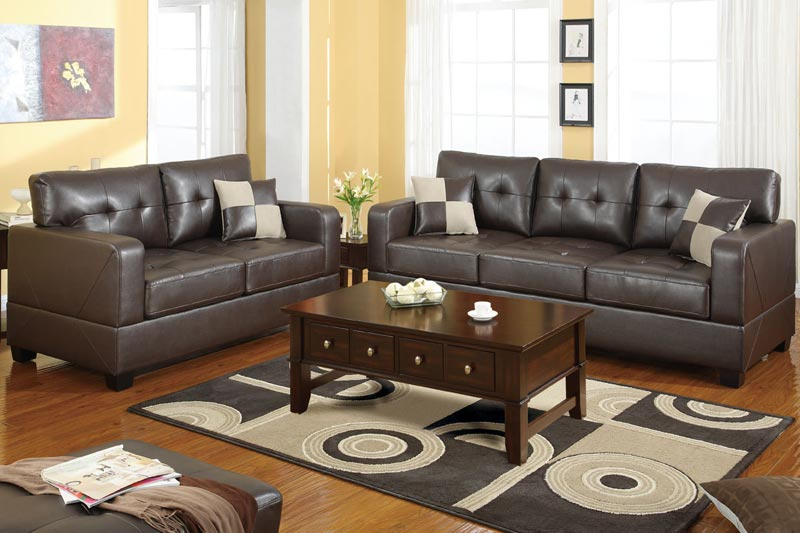 brown leather 3 and 2 seater sofa