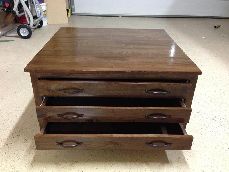 coffee table square with drawers