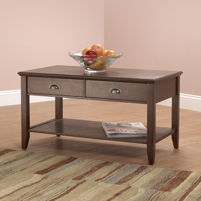 coffee table storage with bin type drawers—espresso