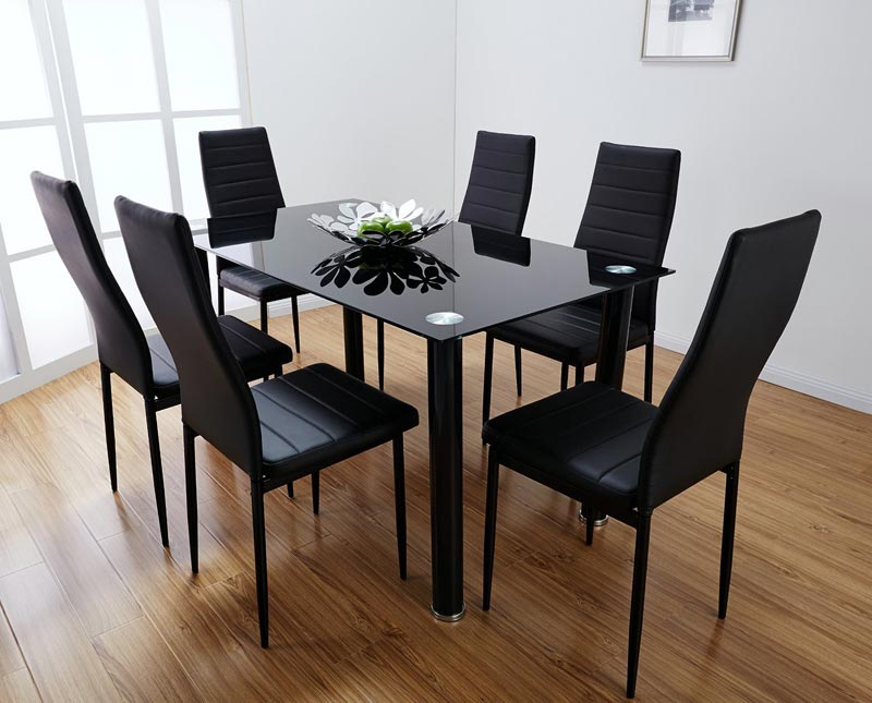 dining table and 6 chairs black