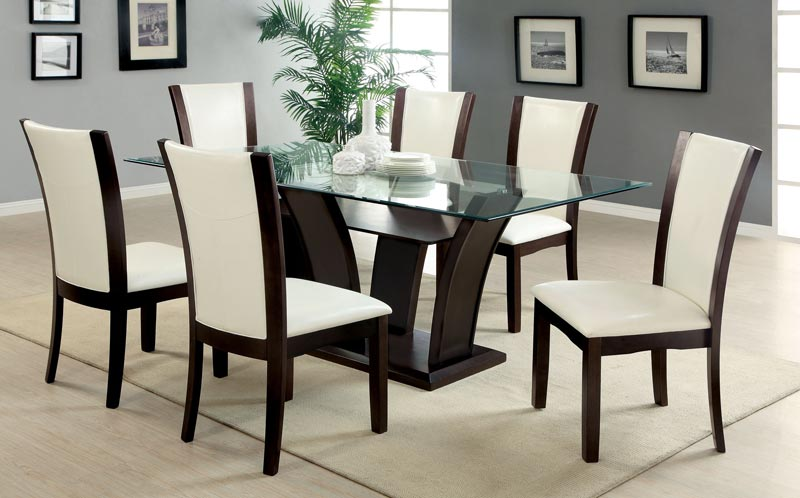 dining table and 6 chairs glass