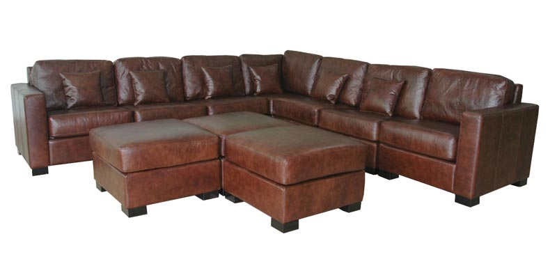 emmerson brown italian leather sectional sofa