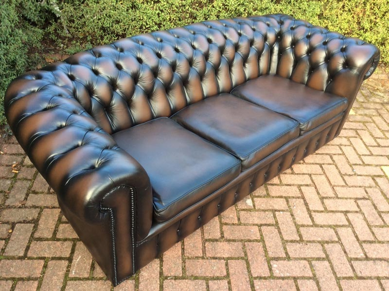 second hand 3 seater brown leather sofa