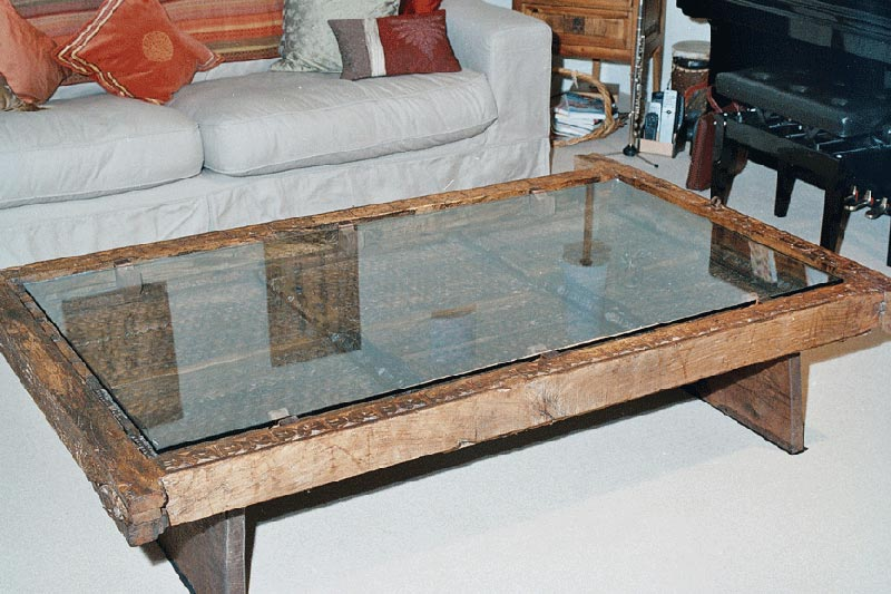 glass coffee table antique