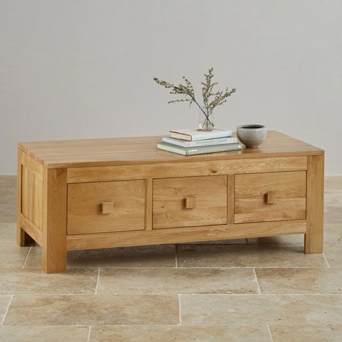 newark solid oak coffee table with storage