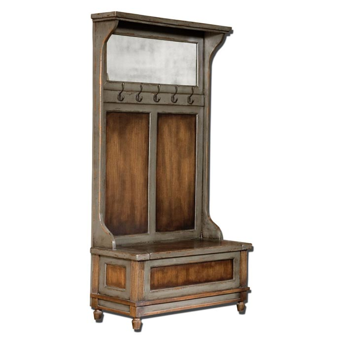 antique hall tree with storage bench and mirror