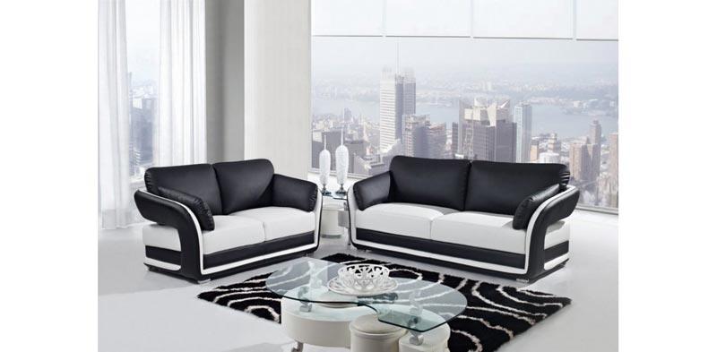 black and white leather sofa set