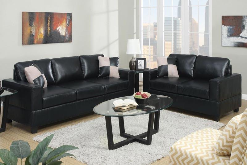 black faux leather sofa set