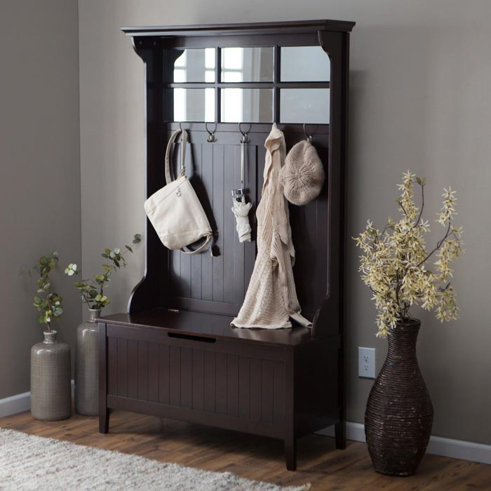 brewster hall tree with storage bench and mirror