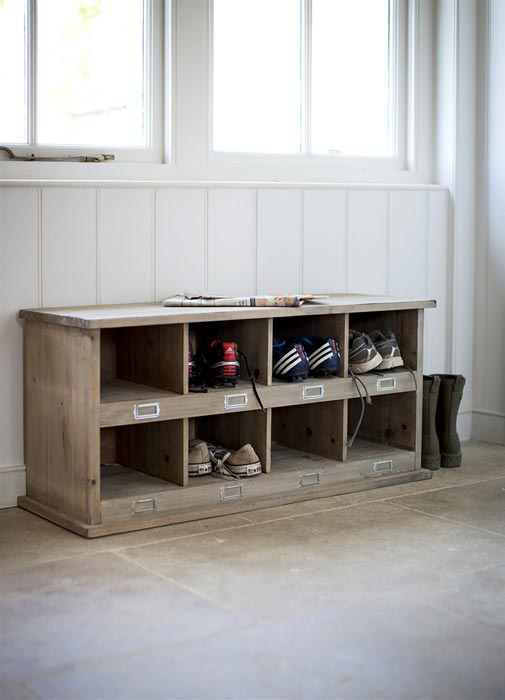solid oak shoe storage bench