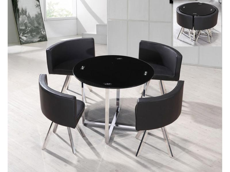 hideaway dining table and 4 chairs set