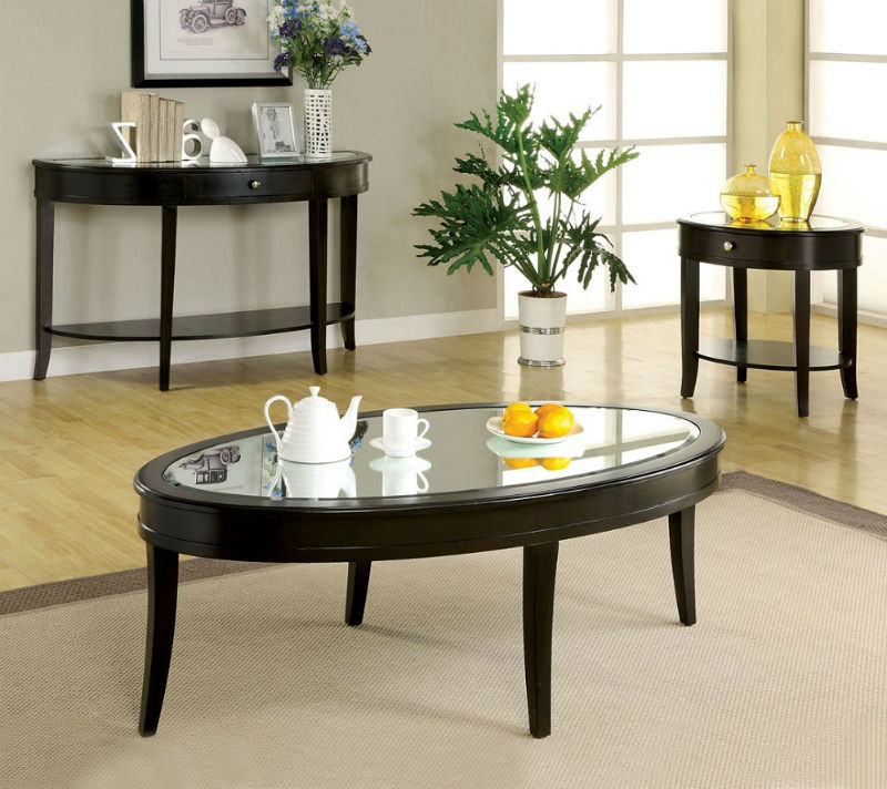 oval coffee table wood and glass