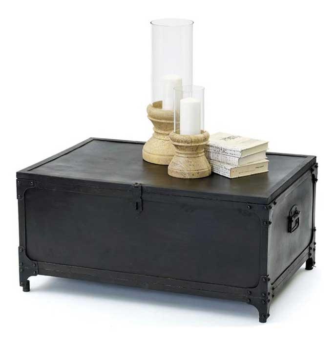 black storage trunk coffee table