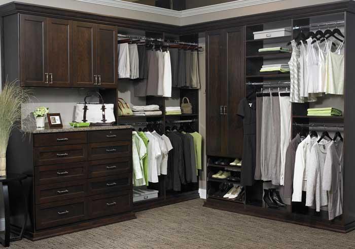 dark wood walk in closet