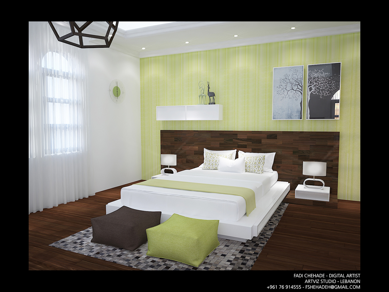 12 by Fadi Chehade (Beirut, Lebanon). Fadi Chehade from Beirut implemented this elegant master bedroom in light green and white colored walls paired with dark hardwood floors. This combination is exquisite and timeless actual. Anyway, here you can also see some elements with a modern feel including the lime green and brown puffs and pictures on the wall.