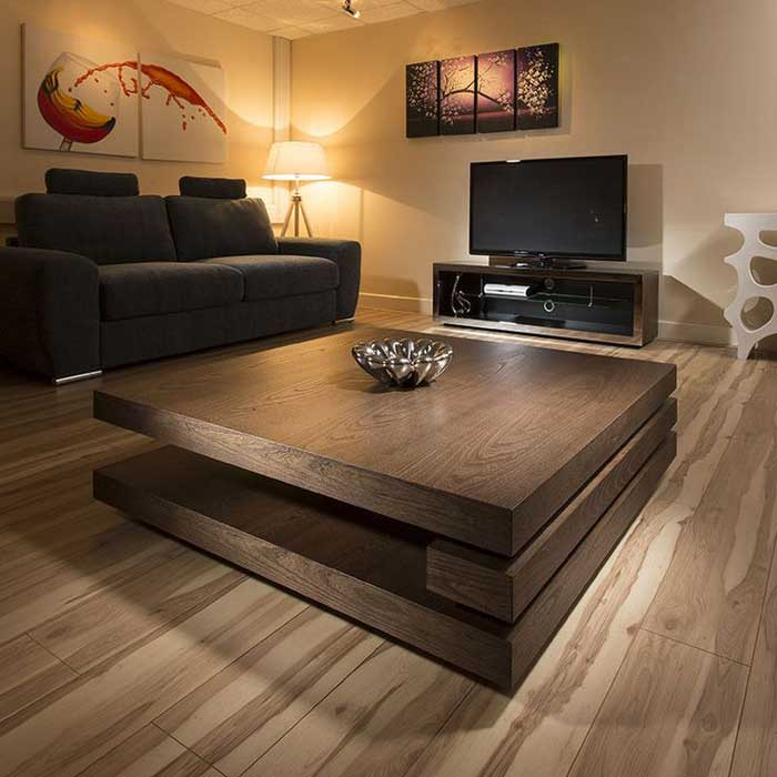 big square wood coffee table
